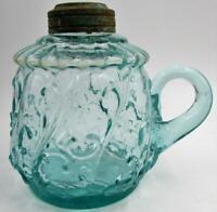 Miniature Antique Oil / Kerosene Finger Lamp Aqua Blue Glass with Applied Handle