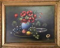 Antique Original Floral Fruit Dutch Still Life Oil Painting old Amsterdam label