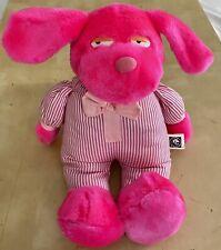 Vintage 1993 Mgm Grand Hotel Las Vegas 12� Pink Dog In Stripes Plush Stuffed Toy