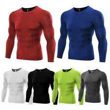 Men Quick Dry Gym Compression Under Base Layer Shirt Tee Long Sleeve Sports Top