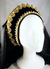 Lady Maria French Hood for Renaissance Tudor Medieval Dress Gown Headpiece Topaz