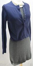 THE LIMITED ANGORA Cardigan Sweater Blue Fuzzy SZ S snap up velvet trim NWT top