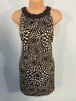 WOMENS PRINCIPLES UK 16 BROWN BEADED HIGH NECK FORAL 60'S STYLE BODYCON DRESS