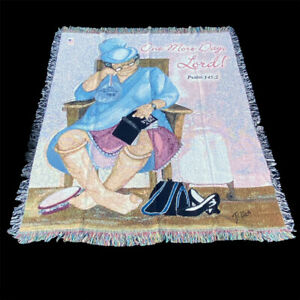 One More Day Lord African American Woman Black Art Tapestry Afghan Throw