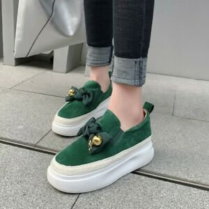New Women Round Toe Slip On Loafers Bowknot Athletic Creeper Wedge Heels Shoes