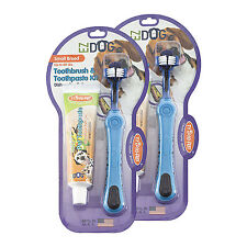2-Pack Triple Pet EZ Dog Toothbrush & Toothpaste Kit Vanilla Mint Flavor Small