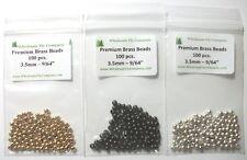 """300 piece Brass Fly Tying Beads  3.5mm 9/64"""" Assortment"""