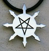 Lucifer Chaos Star 8 pointed inverted pentagram Pentacle Occult Pewter Pendant