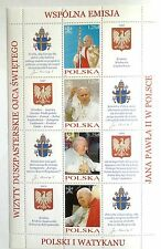 POLAND STAMPS MNH 1Fibl151 Sc3725 Mibl4113-16 block-Visit of Pope John Paul-2004