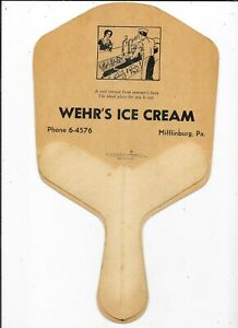 """Vintage Advertising Hand Fan """"Wehr's Ice Cream Mifflinburg, PA"""