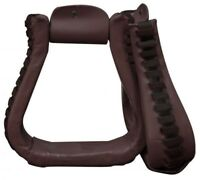 Showman DARK BROWN Western Leather Wrapped Roper Style Stirrups! NEW HORSE TACK