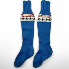 "Pair Hand Knit Wool Large 25"" Stocking Socks Blue Red White Trim Vintage Look"