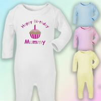 Happy Birthday Mummy Embroidered Baby Romper Babygrow Gift Mum Mother Cute