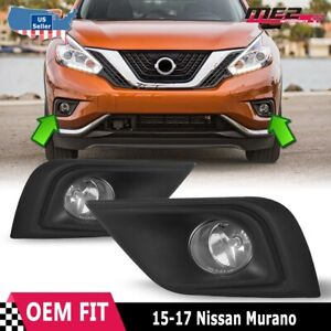 For Nissan Murano 15-17 Factory Replacement Fog Lights + Wiring Kit Clear Lens