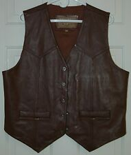 Mens Brown Leather Vest Large