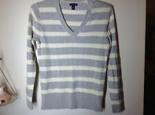 Womens XL Tommy Hilfiger V Neck Sweater Gray Cream NWOT Lightweight Gorgeous