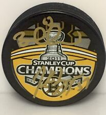 Patrice Bergeron Brad Marchand Boston Bruins Dual Signed Stanley Cup Champs Puck
