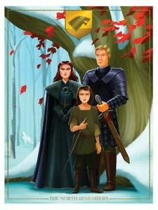 """Game of Thrones House Stark The North Remembers Archival Print Art 12"""" x 16"""""""