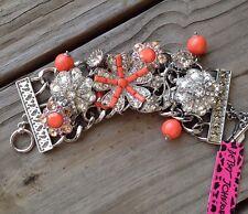 Betsey Johnson Coral Glam Statement Toggle Bracelet