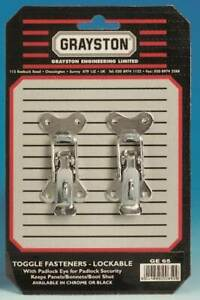 Grayston Competition Pair Chrome Small Lockable Toggle Bonnet Fasteners (GE65)
