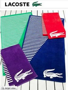 NWT GREAT LACOSTE BEACH TOWEL HUGE PURPLE/ CORAL/ BLUE OR GREEN 100% COTTON NEW!