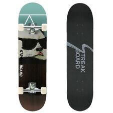 Complete Skateboard Double Kick Deck Concave With White Wheels 31''x 8'' - PANDA