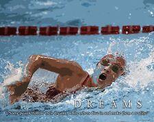 Swimming Motivational Poster Art Print Swimwear Swim Youth Women's Mens  MVP417