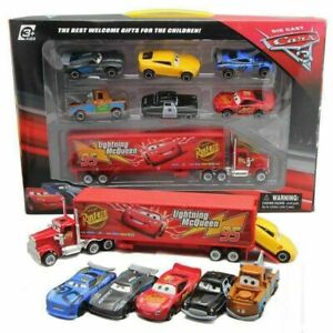 Cars 2 Lightning McQueen Racer Car&Mack Truck Kids Toy Collection Set 7PCS Gifts