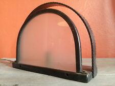 Superbe lampe table veilleuse Art Déco 1930 plaque verre dépolie fer martelé
