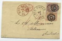 1864 #71 and #65 cover New Haven CT fancy cancel to Australia! [y4251]