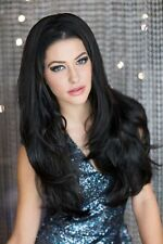 Long Straight Black 3/4 or Half Wig Fall Hair Piece