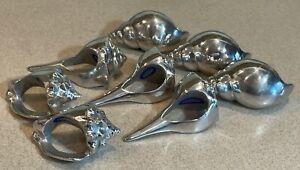 Vintage Mariposa Shell Napkin Rings Set of 8 Cast Aluminum