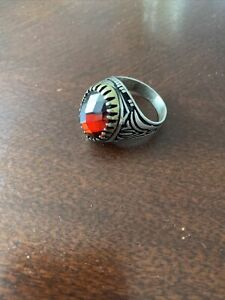Turkish Handmade Ottoman 925 Sterling Silver Ruby Men's Ring Size 10.5