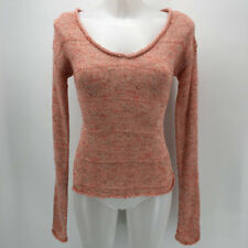 Qi Red & White Knit Long Sleeve Sweater Size Small