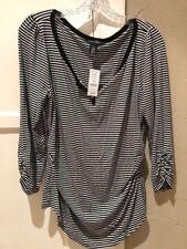 White House Black Market 3/4 Sleeve Top Black White Stripe Size L NWT