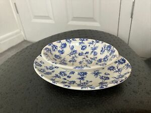 Blue White Briar Rose Ceramic Soap Dish And Plate Country House Rustic Style