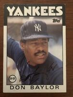DON BAYLOR 1986 TOPPS AUTOGRAPHED SIGNED AUTO BASEBALL CARD YANKEES 765