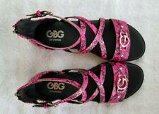 GBG LA gg KARIN Dark Pink  LL and Black Open Toe Sandals 6.5 M Sandals New n Box