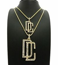 MENS ICED OUT HIPHOP GOLD MEEK MILL DREAM CHASERS PENDANT BOX CHAIN NECKLACE SET