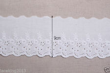 3yards Broderie Anglaise cotton eyelet lace trim 9cm YH890a laceking2013