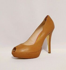 Ted Baker Tan Brown Genuine Leather Peeptoes Court Shoes Heels Womens Uk Size 7