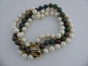 Akoya-Pearls Bracelet With 14kt 585 Yellow Gold Clasp & Diamond Trim / 18,5 CM