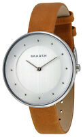 Skagen SKW2326 Gitte Silver Dial Light Brown Leather Strap Women's Watch