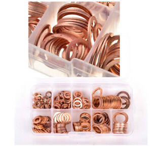 Universal Engine Oil Drain Plug Seal Washers O-Ring Copper Gasket 200Pcs/Set