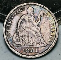 1891 Seated Liberty Dime 10c High Grade Details Good Date US Silver Coin CC5468