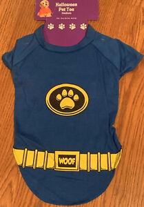 Blue W Yellow Super Hero Woof Pet TEE M DOG Halloween  MEDIUM T-Shirt FUNNY Cute