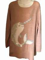 LAUREN CONRAD-Graphic Tunic Sweater.Narwhal.Lightweight All Season.Plus Sz XL