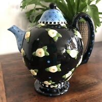 Mary Engelbreit Ink 1997 Table Top large size Tea Pot Blue Black Yellow Flowers