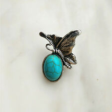 Fashion Jewelry Turquoise butterfly Snaps Chunk Charm Button For Noosa Bracelets