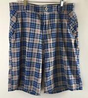 Lululemon Mens Golf Shorts Size 32 Stretch Flat Front Blue Gray Plaid